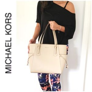 NWT authentic MK genuine leather Tote oat